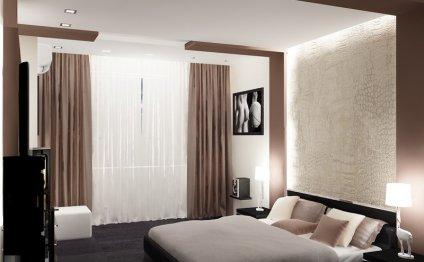 дизайн штор для спальни с