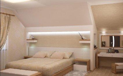 Дизайн спальни на мансарде в