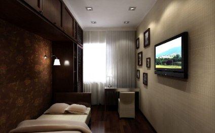 Длинная узкая спальня дизайн