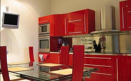 интерьер красной кухни фото