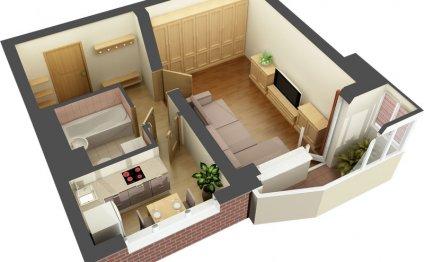 Однокомнатная квартира 35 кв м